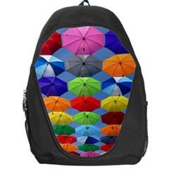 Color Umbrella Blue Sky Red Pink Grey And Green Folding Umbrella Painting Backpack Bag