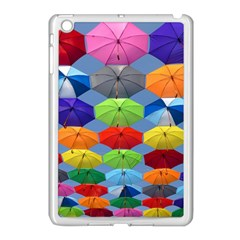 Color Umbrella Blue Sky Red Pink Grey And Green Folding Umbrella Painting Apple Ipad Mini Case (white)