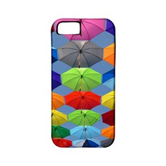Color Umbrella Blue Sky Red Pink Grey And Green Folding Umbrella Painting Apple Iphone 5 Classic Hardshell Case (pc+silicone)