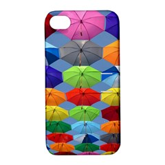 Color Umbrella Blue Sky Red Pink Grey And Green Folding Umbrella Painting Apple iPhone 4/4S Hardshell Case with Stand