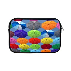 Color Umbrella Blue Sky Red Pink Grey And Green Folding Umbrella Painting Apple Ipad Mini Zipper Cases