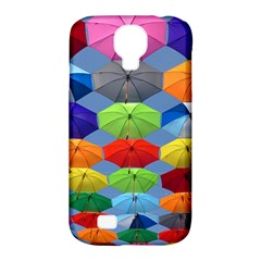 Color Umbrella Blue Sky Red Pink Grey And Green Folding Umbrella Painting Samsung Galaxy S4 Classic Hardshell Case (pc+silicone)