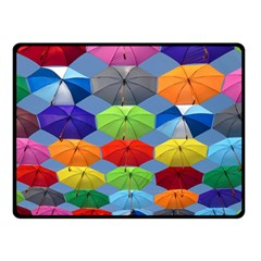 Color Umbrella Blue Sky Red Pink Grey And Green Folding Umbrella Painting Double Sided Fleece Blanket (Small)