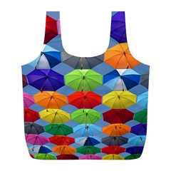 Color Umbrella Blue Sky Red Pink Grey And Green Folding Umbrella Painting Full Print Recycle Bags (l)