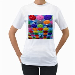 Color Umbrella Blue Sky Red Pink Grey And Green Folding Umbrella Painting Women s T Shirt (white)