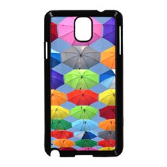 Color Umbrella Blue Sky Red Pink Grey And Green Folding Umbrella Painting Samsung Galaxy Note 3 Neo Hardshell Case (Black)