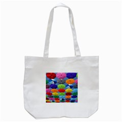 Color Umbrella Blue Sky Red Pink Grey And Green Folding Umbrella Painting Tote Bag (white)
