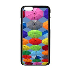Color Umbrella Blue Sky Red Pink Grey And Green Folding Umbrella Painting Apple Iphone 6/6s Black Enamel Case