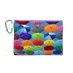 Color Umbrella Blue Sky Red Pink Grey And Green Folding Umbrella Painting Canvas Cosmetic Bag (M)