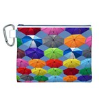 Color Umbrella Blue Sky Red Pink Grey And Green Folding Umbrella Painting Canvas Cosmetic Bag (L) Front