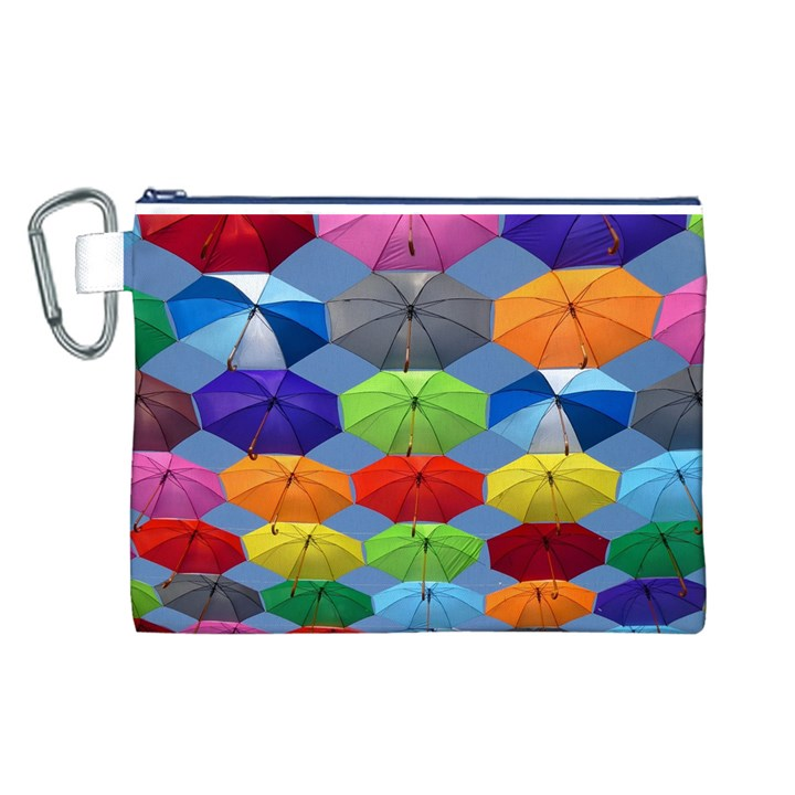 Color Umbrella Blue Sky Red Pink Grey And Green Folding Umbrella Painting Canvas Cosmetic Bag (L)