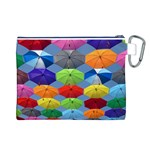 Color Umbrella Blue Sky Red Pink Grey And Green Folding Umbrella Painting Canvas Cosmetic Bag (L) Back