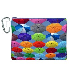 Color Umbrella Blue Sky Red Pink Grey And Green Folding Umbrella Painting Canvas Cosmetic Bag (xl)