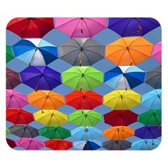 Color Umbrella Blue Sky Red Pink Grey And Green Folding Umbrella Painting Double Sided Flano Blanket (Small)