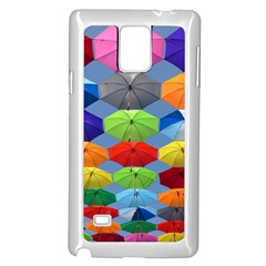 Color Umbrella Blue Sky Red Pink Grey And Green Folding Umbrella Painting Samsung Galaxy Note 4 Case (White)