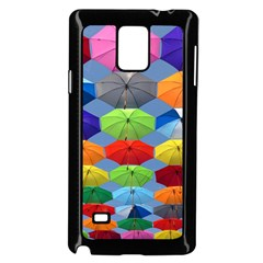 Color Umbrella Blue Sky Red Pink Grey And Green Folding Umbrella Painting Samsung Galaxy Note 4 Case (black)