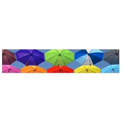 Color Umbrella Blue Sky Red Pink Grey And Green Folding Umbrella Painting Flano Scarf (small)