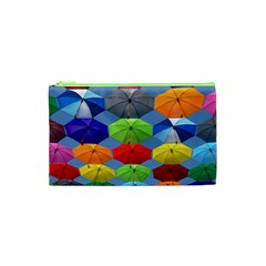 Color Umbrella Blue Sky Red Pink Grey And Green Folding Umbrella Painting Cosmetic Bag (xs)
