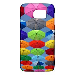 Color Umbrella Blue Sky Red Pink Grey And Green Folding Umbrella Painting Galaxy S6
