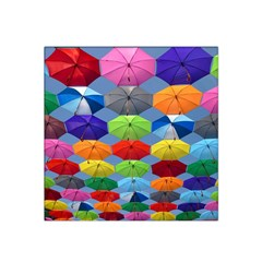 Color Umbrella Blue Sky Red Pink Grey And Green Folding Umbrella Painting Satin Bandana Scarf