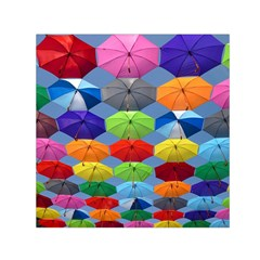 Color Umbrella Blue Sky Red Pink Grey And Green Folding Umbrella Painting Small Satin Scarf (Square)