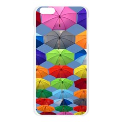 Color Umbrella Blue Sky Red Pink Grey And Green Folding Umbrella Painting Apple Seamless iPhone 6 Plus/6S Plus Case (Transparent)