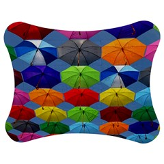 Color Umbrella Blue Sky Red Pink Grey And Green Folding Umbrella Painting Jigsaw Puzzle Photo Stand (Bow)