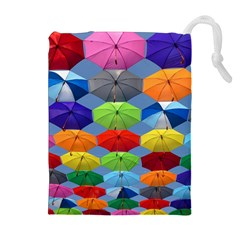 Color Umbrella Blue Sky Red Pink Grey And Green Folding Umbrella Painting Drawstring Pouches (extra Large)
