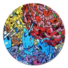 Colorful Graffiti Art Magnet 5  (round)