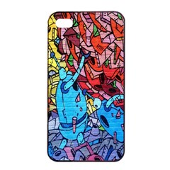 Colorful Graffiti Art Apple iPhone 4/4s Seamless Case (Black)
