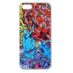 Colorful Graffiti Art Apple Seamless iPhone 5 Case (Clear)