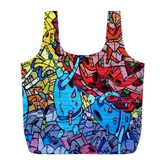 Colorful Graffiti Art Full Print Recycle Bags (l)
