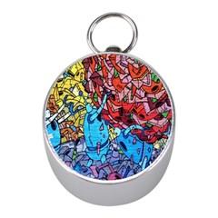 Colorful Graffiti Art Mini Silver Compasses