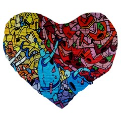 Colorful Graffiti Art Large 19  Premium Flano Heart Shape Cushions