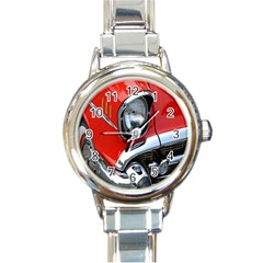 Classic Car Red Automobiles Round Italian Charm Watch