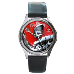 Classic Car Red Automobiles Round Metal Watch