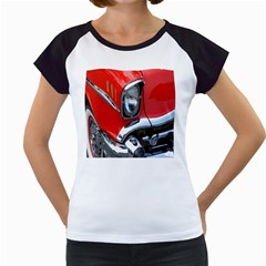Classic Car Red Automobiles Women s Cap Sleeve T