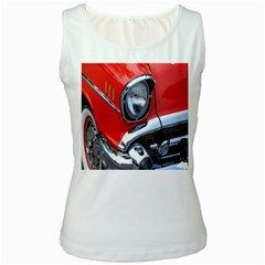 Classic Car Red Automobiles Women s White Tank Top
