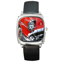 Classic Car Red Automobiles Square Metal Watch