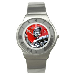 Classic Car Red Automobiles Stainless Steel Watch