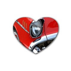 Classic Car Red Automobiles Rubber Coaster (Heart)