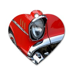 Classic Car Red Automobiles Dog Tag Heart (one Side)