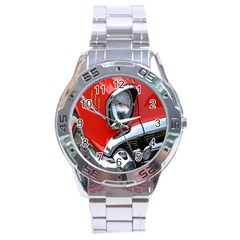 Classic Car Red Automobiles Stainless Steel Analogue Watch