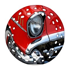 Classic Car Red Automobiles Ornament (Round Filigree)