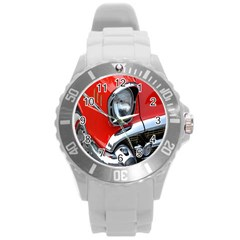 Classic Car Red Automobiles Round Plastic Sport Watch (l)