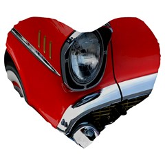 Classic Car Red Automobiles Large 19  Premium Flano Heart Shape Cushions