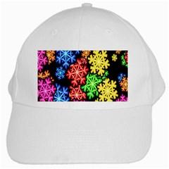 Colourful Snowflake Wallpaper Pattern White Cap