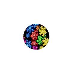 Colourful Snowflake Wallpaper Pattern 1  Mini Magnets