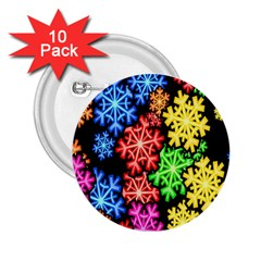 Colourful Snowflake Wallpaper Pattern 2.25  Buttons (10 pack)