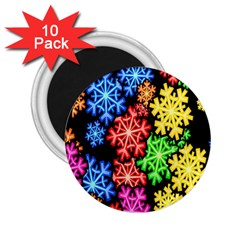Colourful Snowflake Wallpaper Pattern 2 25  Magnets (10 Pack)